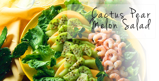Cactus Pear Melon Salad with Mint Dressing