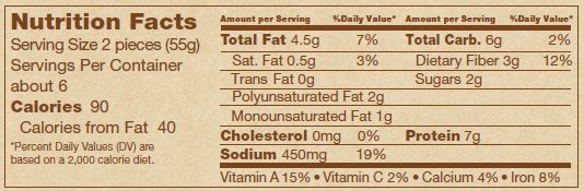 Frieda's Soyrizo Nutritional Facts