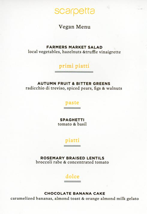 Frieda's Specialty Produce - What's on Karen's Plate - Scarpetta Beverly Hills Vegan Menu