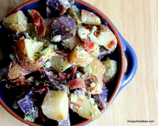 Hungry Goddess - Roasted Potato Salad with Prosciutto and Lemon Caper Dressing