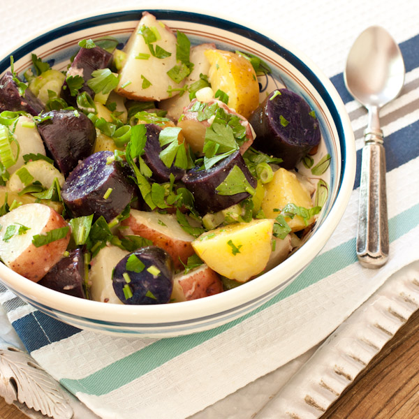 Recipe Renovator - Red, white, and blue potato salad with peppery radish dressing