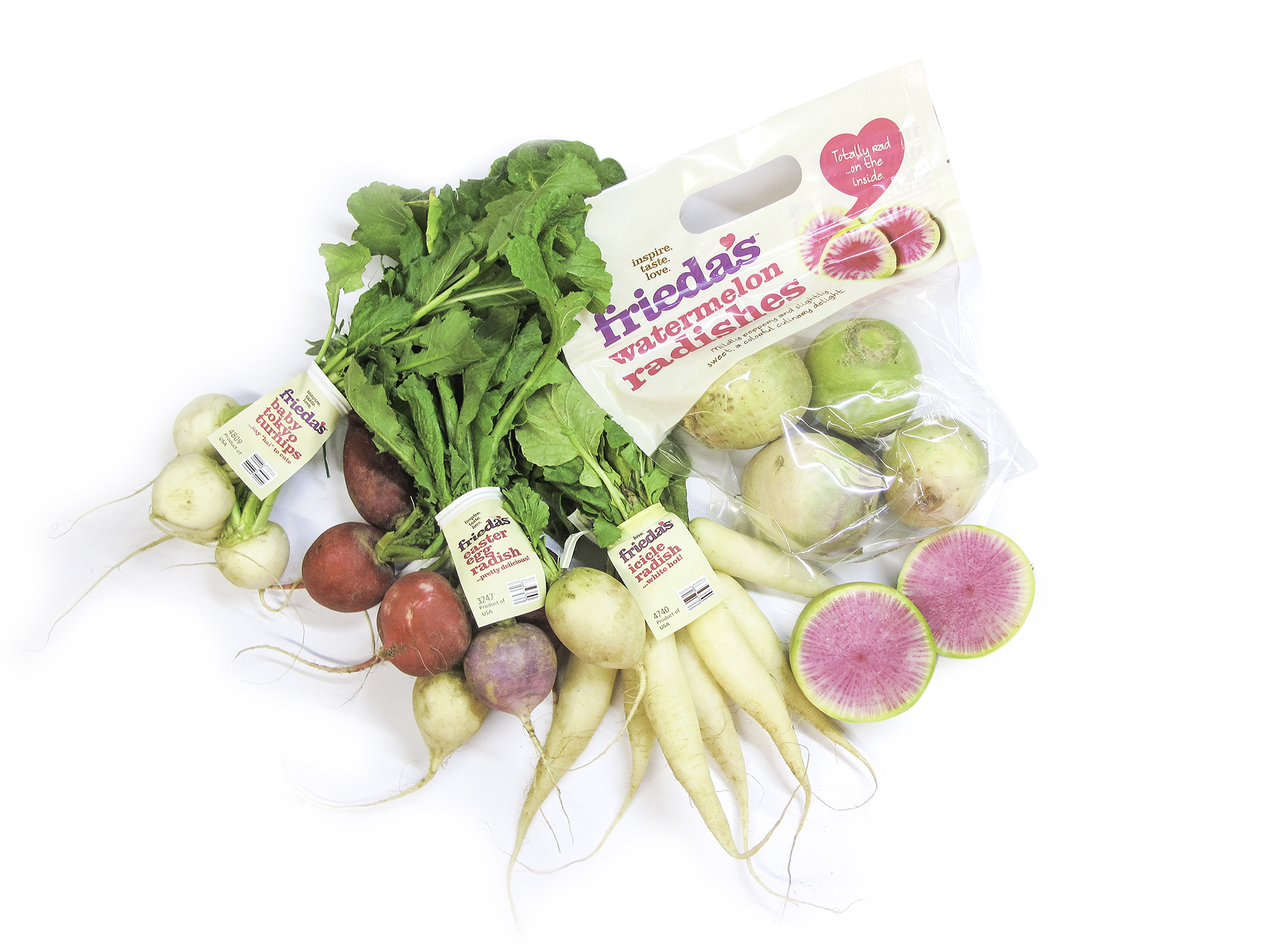 Frieda's Specialty Produce - Specialty Radishes - Tokyo Turnip - Easter Egg - Icicle - Watermelon