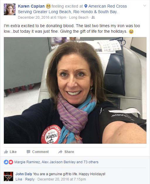 Karen's Blog - What's on Karen's Plate? - Karen Caplan gives blood - Facebook