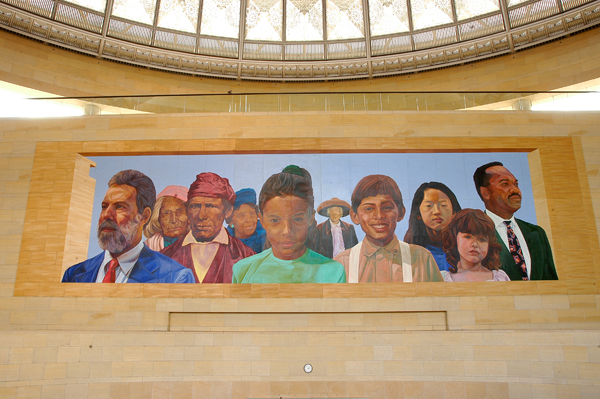 """City of Dreams, River of History"" mural by Richard Wyatt, 1995, at Union Station"