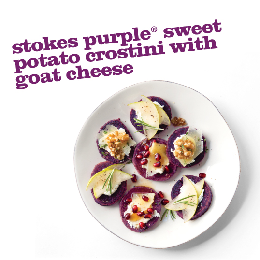 Frieda's Stokes Purple Sweet Potato Crostini with Goat Cheese