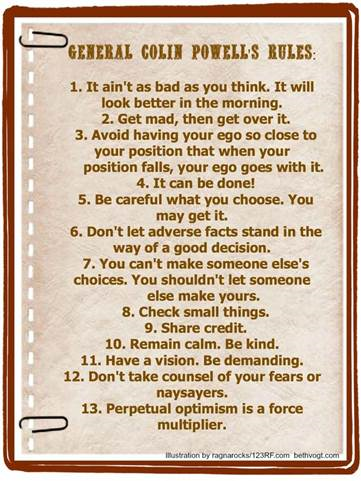General Colin Powell's 13 Rules